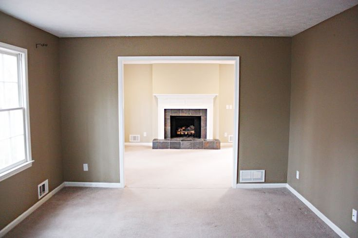 Tile would be a great update to fireplace.