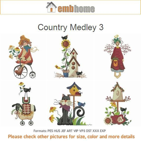 Country Medley 3 Primitive Machine Embroidery Designs By Embhome. Dish Towel  ...