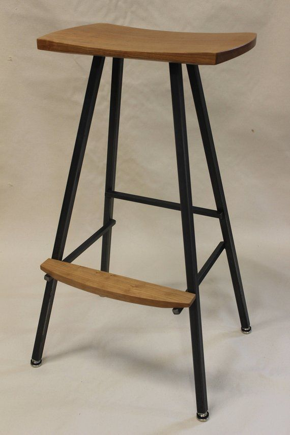 Modern Industrial Bar Stool Or Kitchen Stool Both Durable Etsy Industrial Bar Stools White Wood Bar Stools Bar Stools