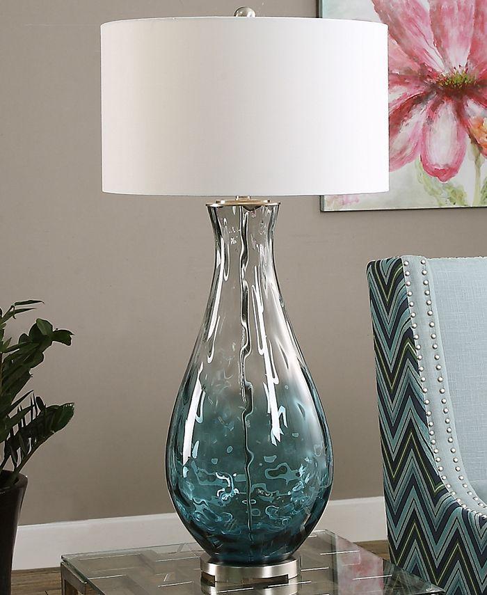 Crystal Twisted Aqua Coastal Table Lamp Table Lamp Lamp Glass Table Lamp