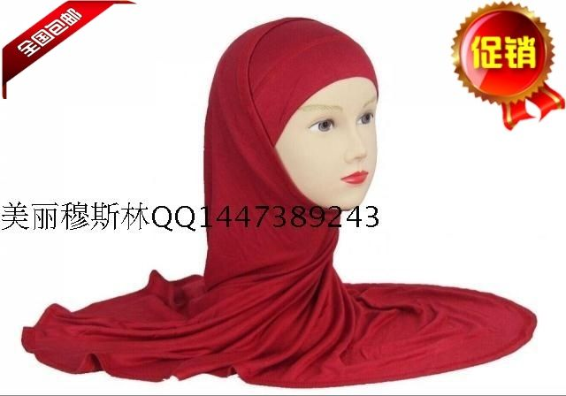 The new black and white wine red color modal cotton two piece simple convenient muslim hijab