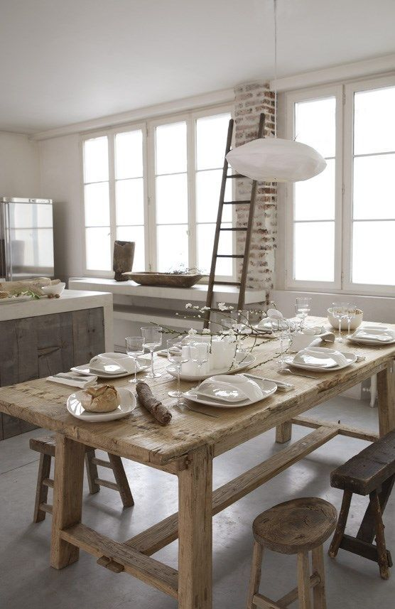 nice rustic table, but need to long benches & shelving underneath for storage