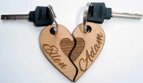 Wooden Keychains  Laser Cutcouple keychainsHis and by ShadievArtem