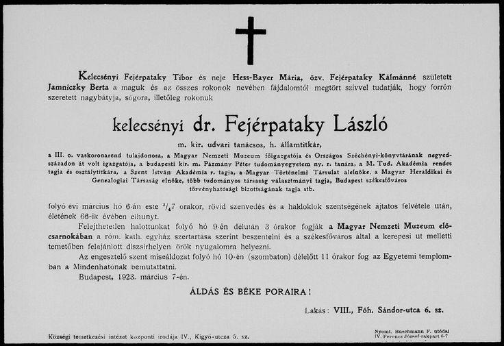 kelecsényi Fejérpataky László   (Eperjes, 1857. augusztus 17. – Budapest, 1923. március 6.)   Történész, egyetemi tanár, könyvtáros és levéltáros, az Országos Széchényi Könyvtár igazgatója, a Magyar Nemzeti Múzeum főigazgatója, a Magyar Tudományos Akadémia tagja. 1883 és 1898 között a Magyar Heraldikai és Genealógiai Társaság titkáraként, 1898 és 1910 között másodelnökeként, majd haláláig elnökeként működött.
