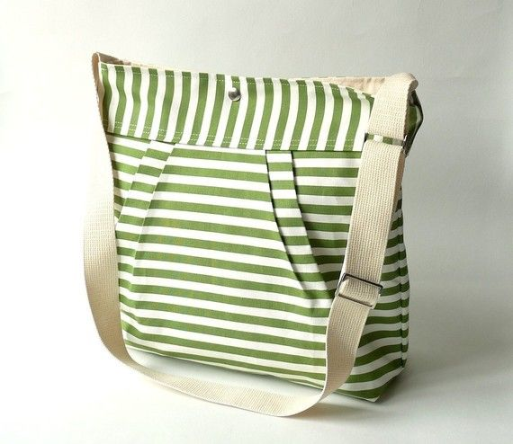 Water resistant /STOCKHOLM Apple Green and white-8 Pockets-French Messenger $59 on etsy by ikabags