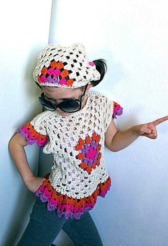 Crochet hair bandana for girls, handmade headscarf in cotton, hair bandanna for summer in fruity colours, hair kerchief READY TO SHIP