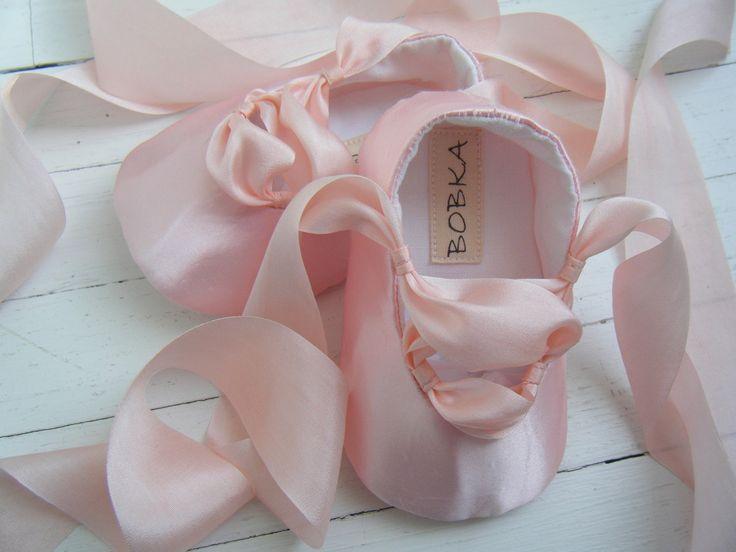 Pink Ballet Shoes, Baby Girl Ballet Shoes, Flats,Flower Girl Shoes, Toddler Ballet Flat, Bobka Shoes by BobkaBaby. $45.00, via Etsy.