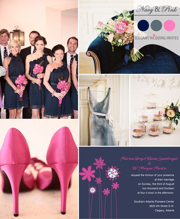 navy blue and hot pink wedding color ideas for fall 2014 #weddingcolors #fallweddingideas #elegantweddinginvites
