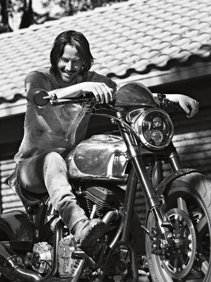 Keanu on a bike