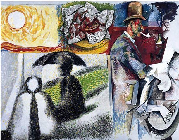 Renato Guttuso - Omaggio agli impressionisti (Sole e orecchio di Van Gogh, Seurat, Cézanne, Picasso), 1966