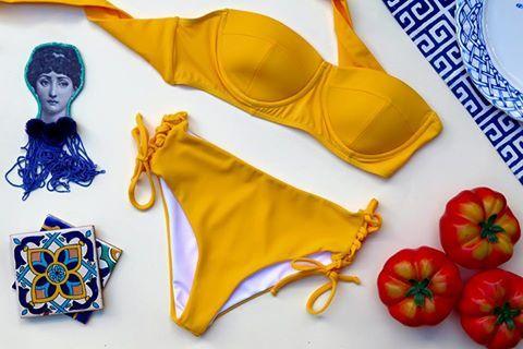 """SUNDIAL"" bikini // yellow.   Photo teapot.gr #karavan #karavanclothing #karavangirl #sundial #bikini #swimwear #beachlife #summer #summer16 #greekdesigners"