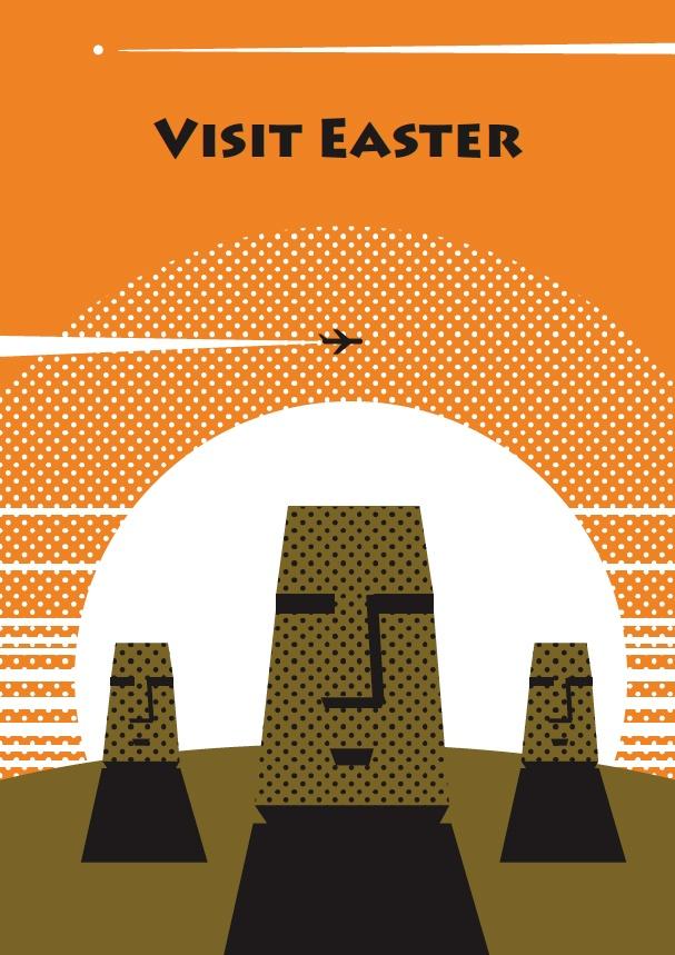 Visit Easter (Island) vintage travel poster style.