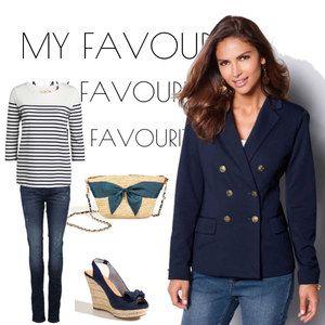 Na vlnách námořnického stylu. Sako, kabelku a boty najdete na www.modino.cz #fashion #blue #woman #jasket #elegance #sako #navy #modra