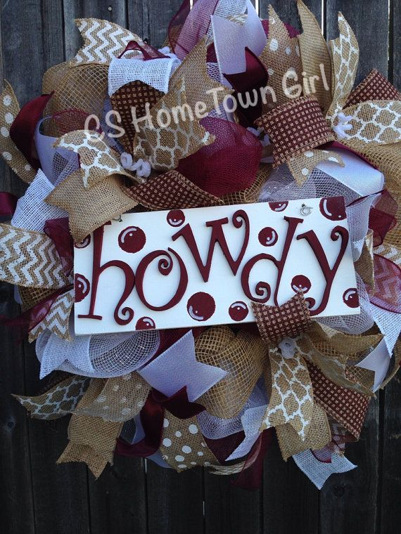 HOWDY Texas A&M Wreath by CSHomeTownGirl on Etsy, $95.00