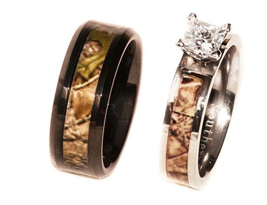 camo on black band and regular camo titanium cz ring - Camo Wedding Ring Sets For Him And Her