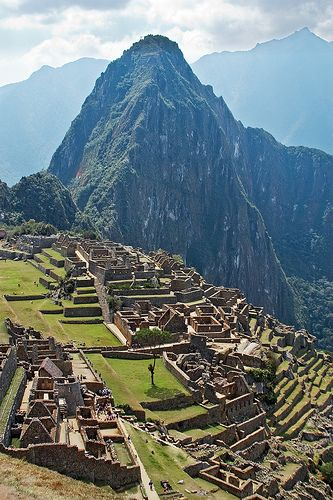 Machu Picchu with Huayna Picchu  mountain in the background