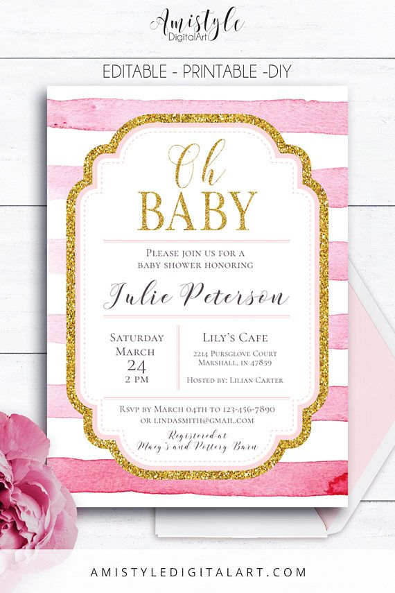 Striped Shower Invitation - with pink watercolor stripes and gold elements by Amistyle Digital Art on Etsy