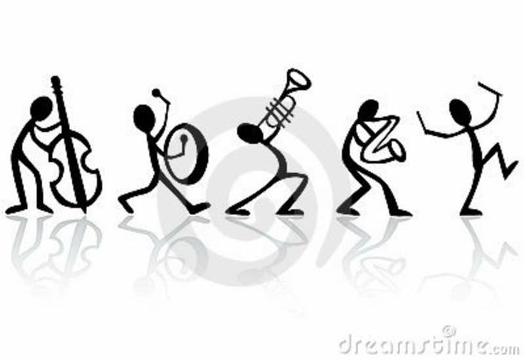 Stick figure band.