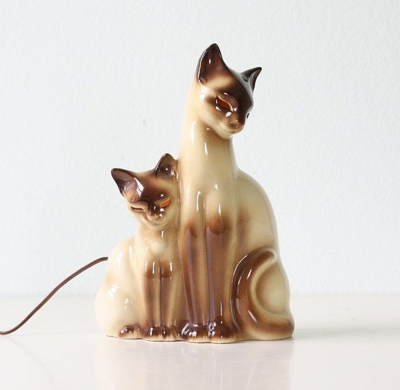 Vintage Cat Lamp by Kron  Siamese Cat TV Lamp by bellalulu on Etsy, $68.00