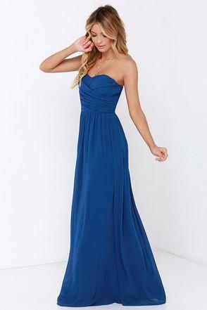 941655806af Pretty Cobalt Blue Maxi Dress - Strapless Dress - Maxi Dress -  68.00   bluebridesmaiddressesflowing