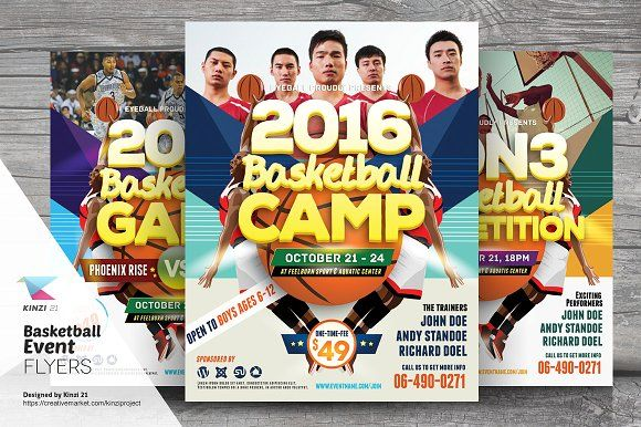 Basketball Event Flyer Templates by kinzi21 on @creativemarket