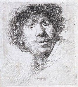 cross hatched self portrait Rembrandt