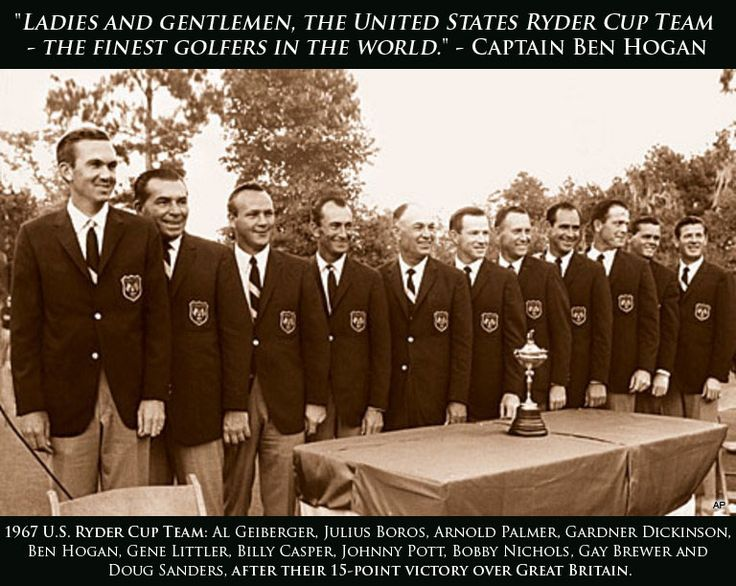 Today in golf history in 1967, Ben Hogan captained the United States team to the most dominant victory in Ryder Cup history against team Great Britain captained by Dai Rees, winning by a 15-point margin. #TBT #Golf #GolfLegends