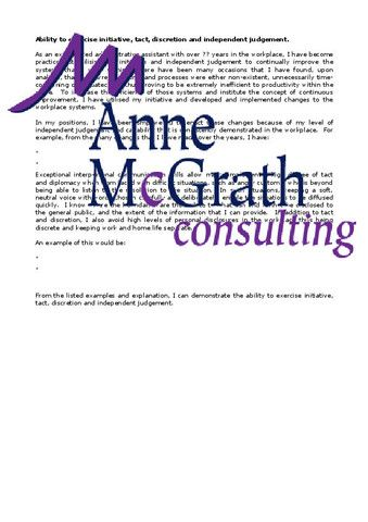 Admin - Ability to exercise initiative, tact, discretion and independe – Professional Resumes @ Anne McGrath Consulting