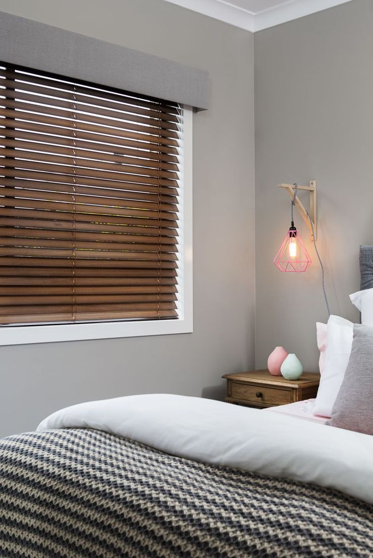 Blinds and curtains combination bedroom - Grey Coloured Pelmet Combined With A Timber Venetian Blind