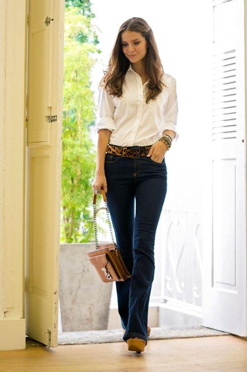 Jeans heels blouse leopard belt sexy casualwear