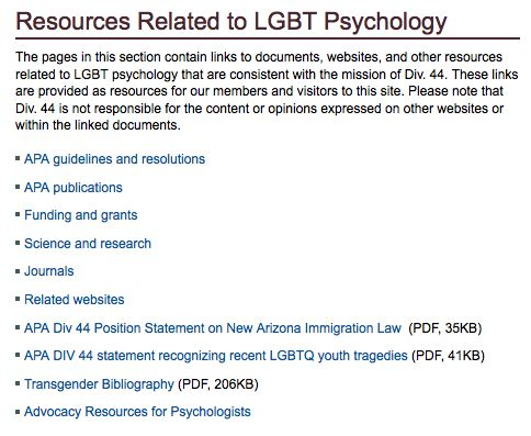 lgbt psychology Web pages and articles outside of div 44 related to the division's mission of promoting lgbt psychology.
