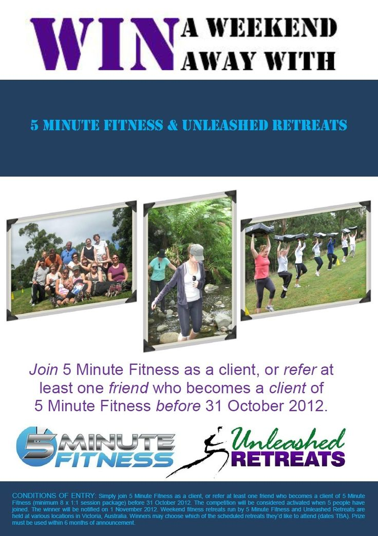 WIN a weekend Fitness Retreat with 5 Minute Fitness and Unleashed Retreats!
