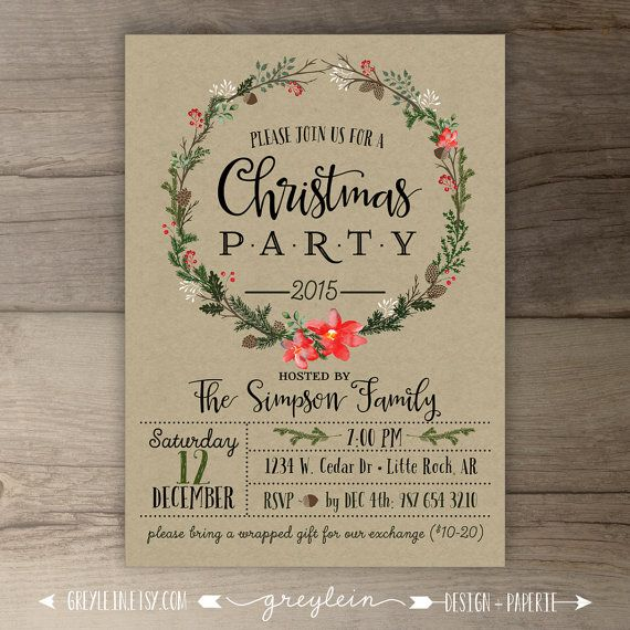 Christmas Party Invitations • Wreath • Kraft • Custom Holiday Dinner Invites • DIY Printable