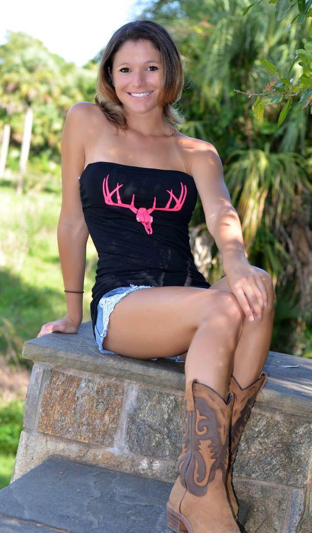 Cute Black Tube top pink deer skull top