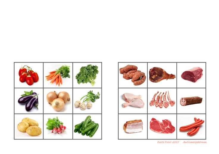 Tiles for the meat - vegetables sorting task. By Autismespektrum
