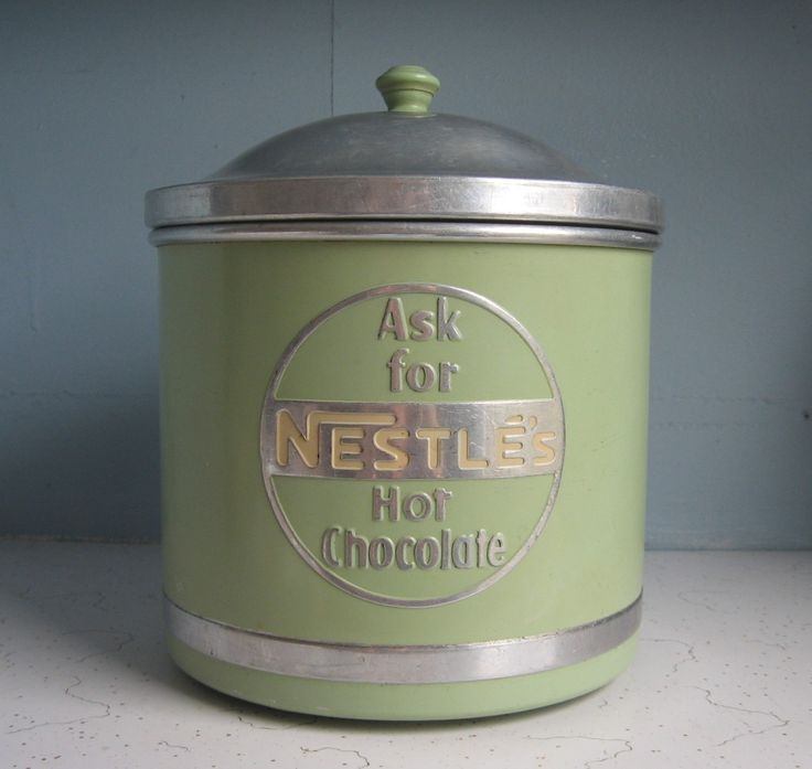 Nestle Hot Chocolate store tin canister.