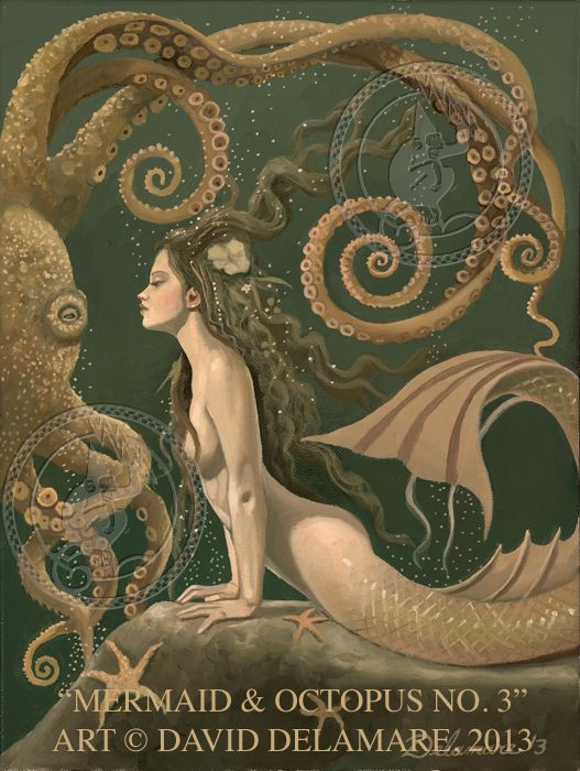 Mermaid & Octopus One of the few nice pictures of a mermaid, love that an octopus is in the picture.