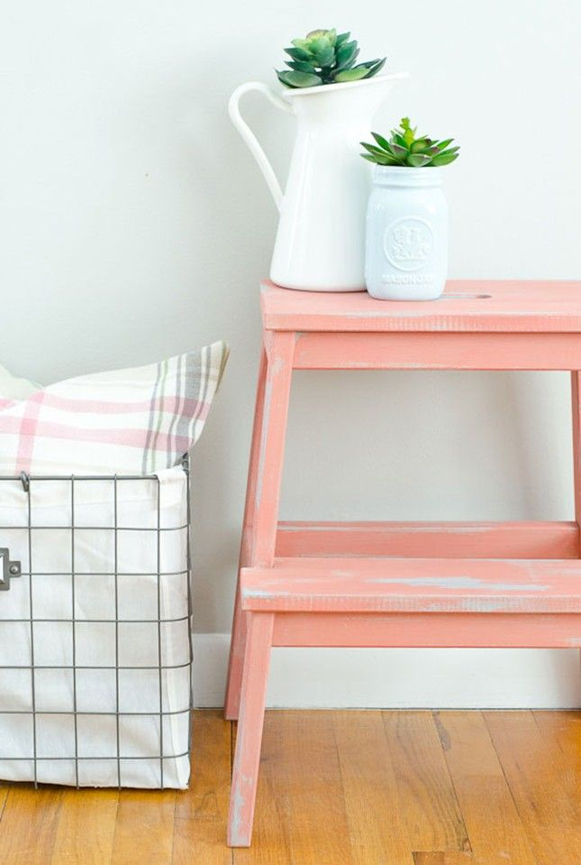 Give an IKEA BEKVAM step stool a coat of paint to make a statement piece with this hack.