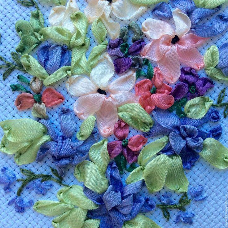 """Купить Вышивка лентами """"Весенний букет"""" - Вышивка лентами, вышивка цветами, подарок девушке"""