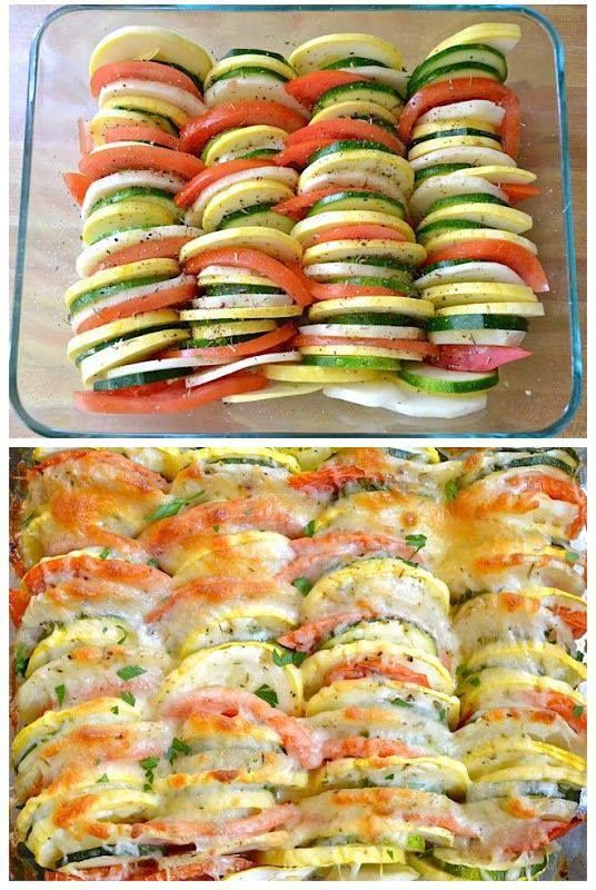 potatoes, onions, squash, zucchini, tomatoes...sliced, topped with seasoning and parmesian cheese.  verified yummy :)