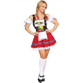 Dit Oktoberfest pakje kan je perfect dragen tijdens het Duitse bierfeest. Het dirndl jurkje is geproduceerd door het mooie merk Roma Comstume en maakt van goed uitgewerkte pakjes. Dit Fraulein pakje bestaat uit een rood rokje die hoog in de taille is met een wit schortje, de bretels zijn zwart leer look het is afgewerkt met bloemen borduursels. Bij dit Oktoberfest pakje hoort het witte bando topje met witte pof mouwtjes die los van het topje zijn. Onder de petticoat die onder het rokje wordt…