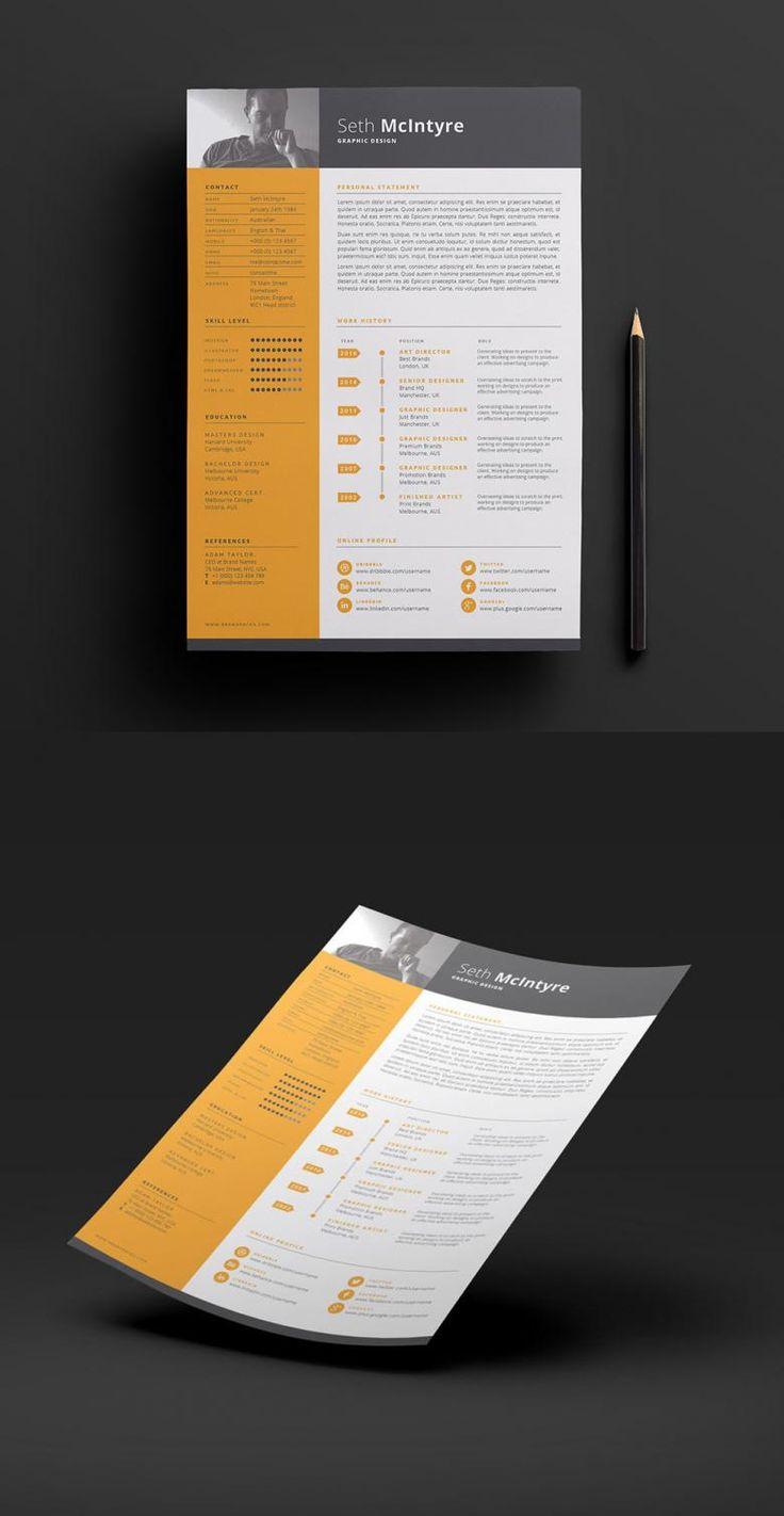 Free Clean, Single Color CV Template
