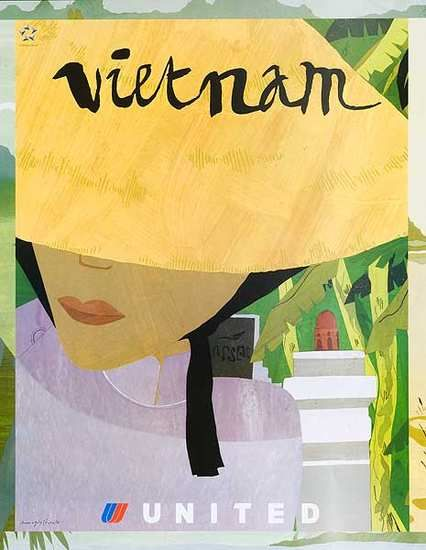 Original United Airlines Travel Poster Vietnam Woman in Yellow Hat