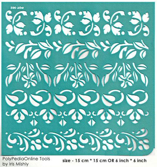 Stencil Stencils Template Border Leaves 6 inch/15 cm by irismishly