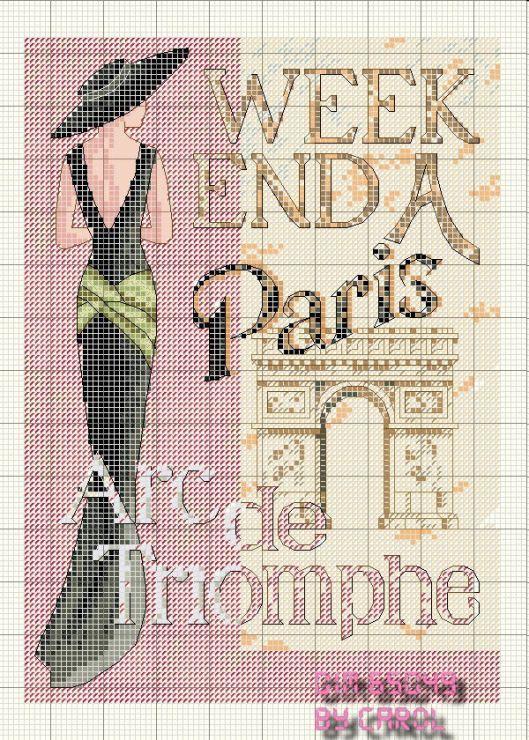 point de croix femme Paris - cross stitch woman Paris