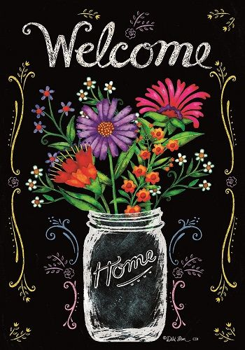 Custom Decor Flag - Wildflower Jar Decorative Flag at Garden House Flags