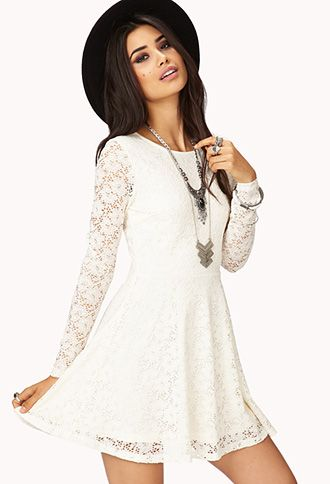 *** Similar to above strapless dress. White. Lace. This one is obviously a winter dress though. I love the lace sleeves and the flirty skirt!!! However, again, LBFTLose?? ***