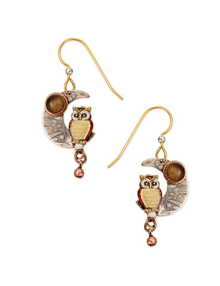 Silver Forest Silver-Tone Owl on the Moon Drop Earrings | Stage Stores