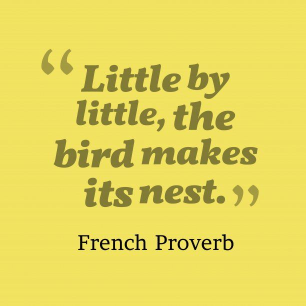Little by little, the bird makes its nest. - French Proverbs