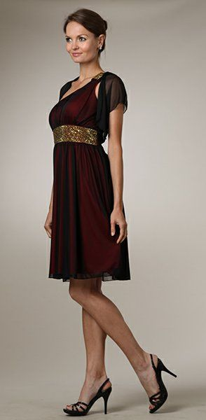 Dinner Party Red Knee Length Dress One Shoulder Strap Black Overlay